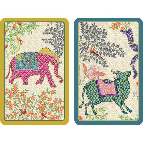 Caspari Large Type Bridge Playing Cards, Le Jardin De Mysore, 2 Decks (PC140J)