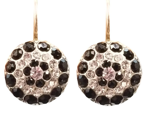 Mariana Crystal Earrings, Round, Black and Clear Crystals