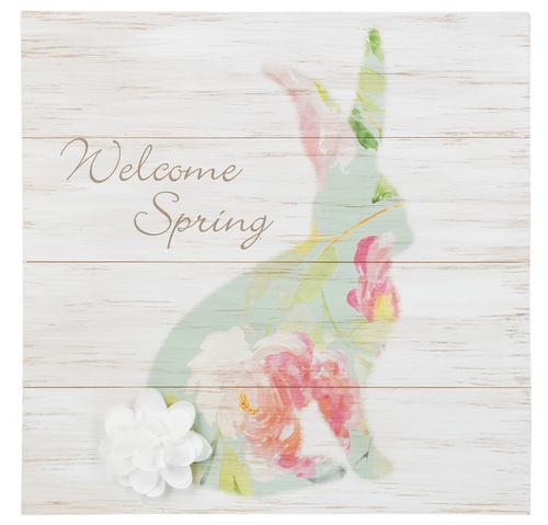 "Ganz Bunny & Flower Plaque, ""Welcome Spring"""