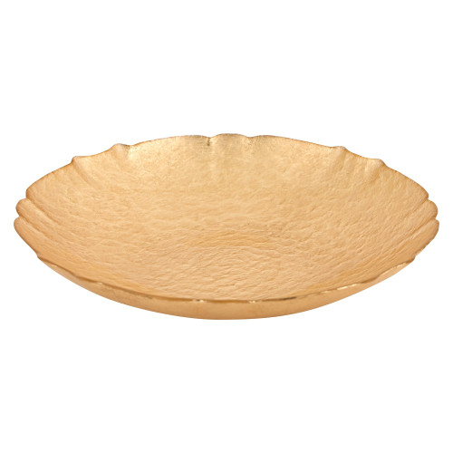 "Badash - 12"" Handmade Gold Leaf Glass Serving Bowl (P256)"