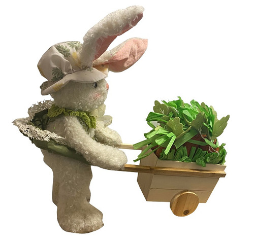 Hanna's Handiworks Bunny w/ Wheelbarrow, Cloth Hat