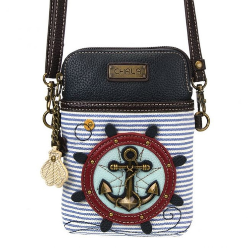 Chala Cell Phone Crossbody Bag, Anchor, Blue and White Stripe