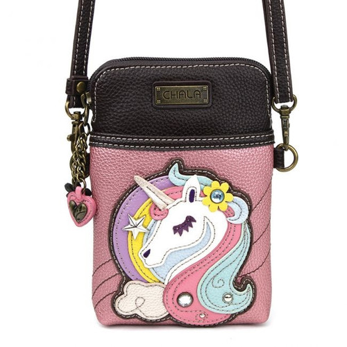 Chala Cell Phone Crossbody Bag, Unicorn, Glitter Pink