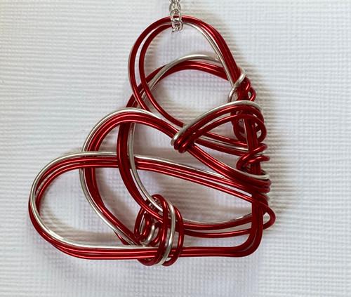Village Designs Heart Pendant, Red/Silver