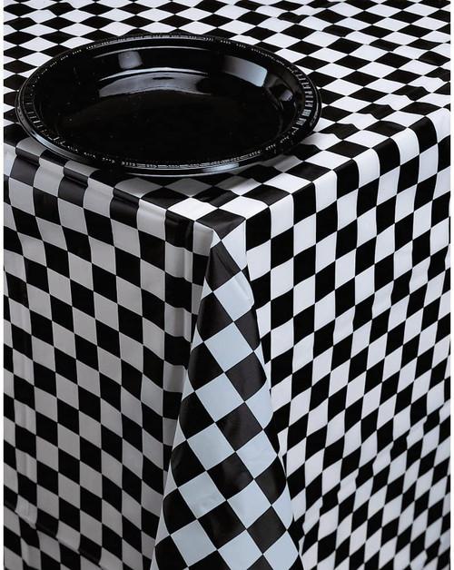 CEG Plastic Table Cover, Black & White Check (39197)