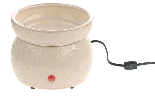 Ganz Damask Ceramic Electronic Simmering Wax Warmer, Cream