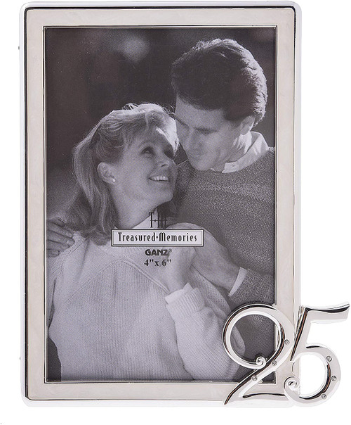 """Ganz 4x6"""" White and Silver Picture Frame, 25th Anniversary"""