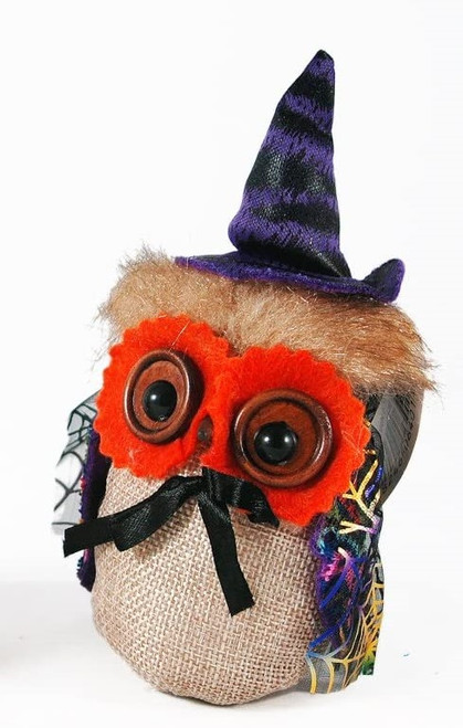 C&F Enterprises Witch Owl Ornament, Orange Eyes
