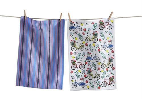 TAG Floral Bike Dish Towel, Set of 2