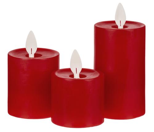 Ganz LED Wax Mini 3pc Pillar Set, Red