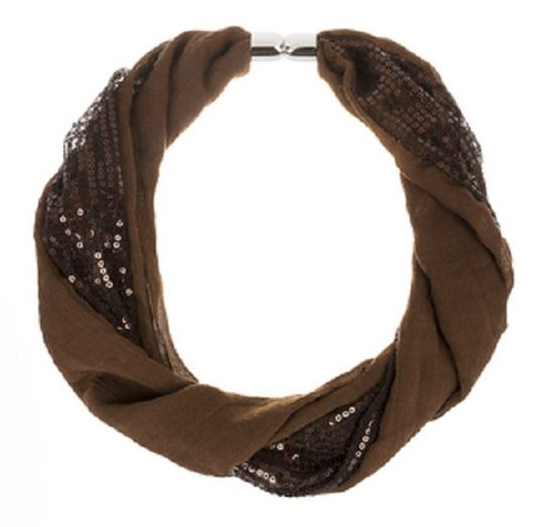 Ganz Sequin Magnetic Scarf, Brown