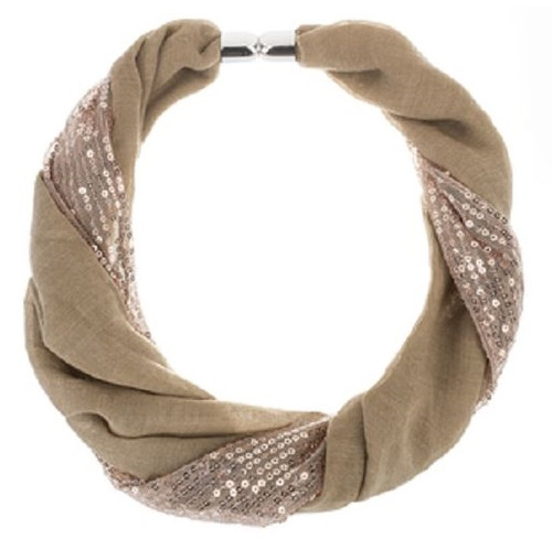 Ganz Sequin Magnetic Scarf, Taupe