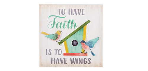 Ganz Pastel Bird Sign, To Have Faith