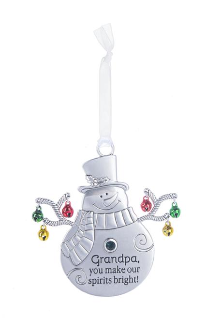 Ganz Jingle Snowman Ornament - Grandpa, You Make Our Spirits Bright!