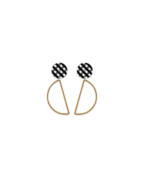 Moe Moe Ebony Gingham Hanging Moon Stud Earrings
