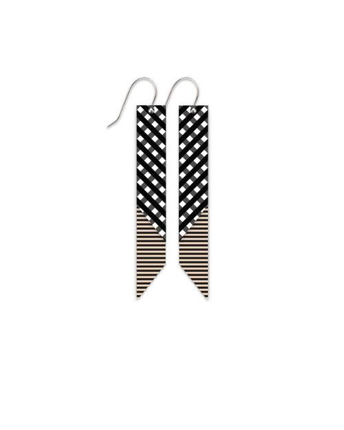 Moe Moe Ebony Striped Gingham Layered Angled Bar Drop Earrings