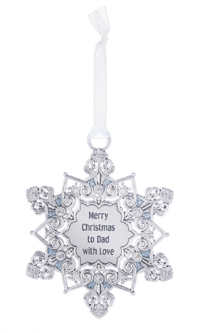 Ganz Snowflake Ornament - Merry Christmas to Dad with Love