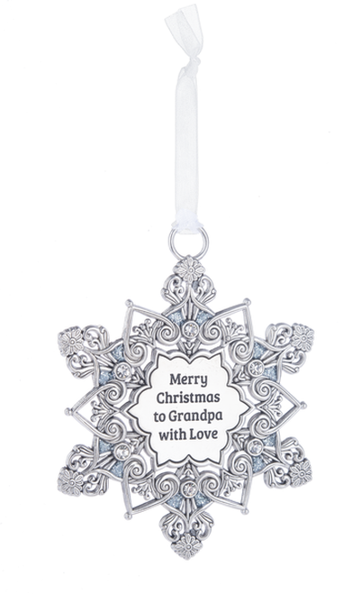 Ganz Snowflake Ornament - Merry Christmas Grandpa with Love