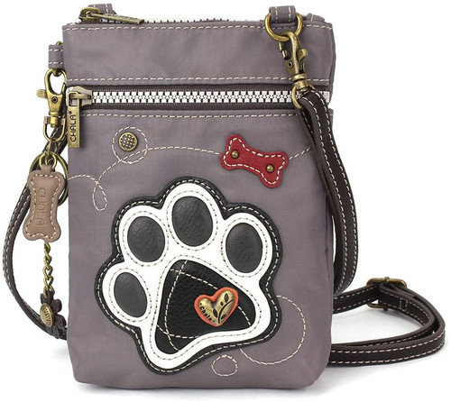 Chala Cell Phone Crossbody Bag, Grey Pawprint