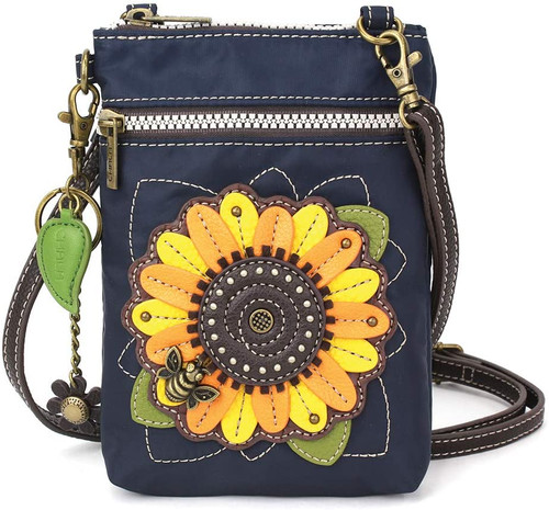 Chala Cell Phone Crossbody Bag, Navy Sunflower