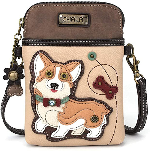 Chala Cellphone Crossbody Bag, Ivory Corgi