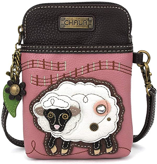 Chala Cellphone Crossbody Bag, Sheep on Pink