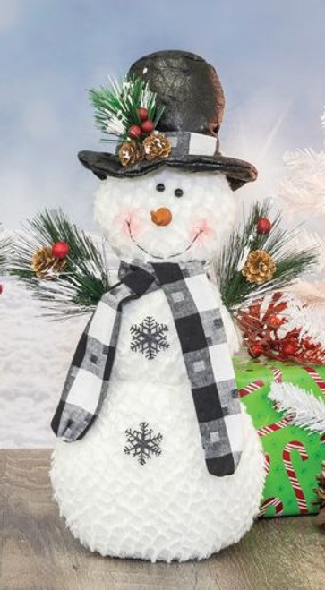 Hanna's Handiworks Dotted Plaid Snowman Tabletop, Top Hat