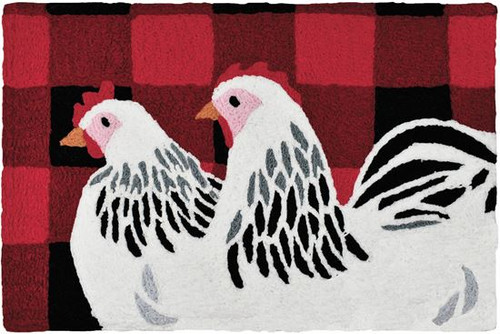 HCI Jellybean Rug - Chickens on Buffalo Check