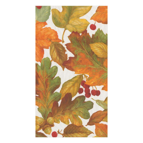 Caspari Paper Guest Towel Napkins, Autumn Leaves II (16260G)