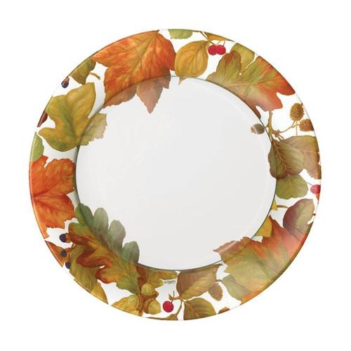 Caspari Round Paper Salad/Dessert Plates, Autumn Leaves II (16260SP)