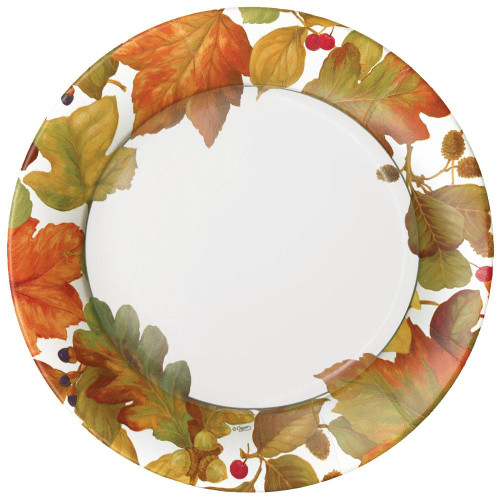 Caspari Round Paper Dinner Plates, Autumn Leaves II (16260DP)