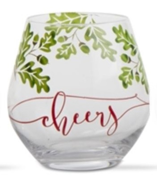 TAG Boughs of Holly Stemless Wine Glass, Cheers