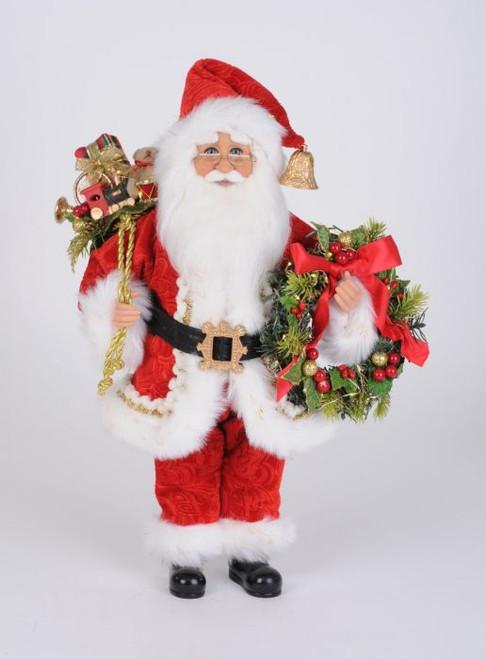 Karen Didion Lighted Berry Wreath Santa
