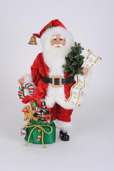 Karen Didion Lighted Candy Cane Gift Bag Santa