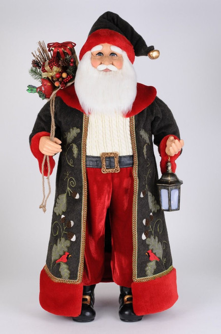 Karen Didion Lighted Woodland Cardinal Santa