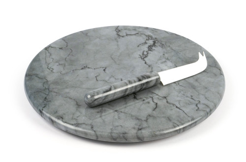 RSVP Grey Marble Cheese Board & Knife Set