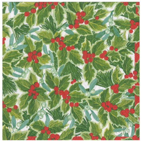 Caspari Paper Beverage Napkins, Holly & Mistletoe (16210C)