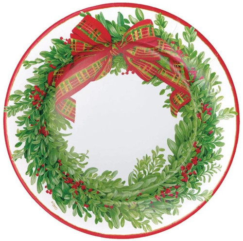 Caspari Round Paper Salad/Dessert Plates, Boxwood & Berries Wreath (16200SP)