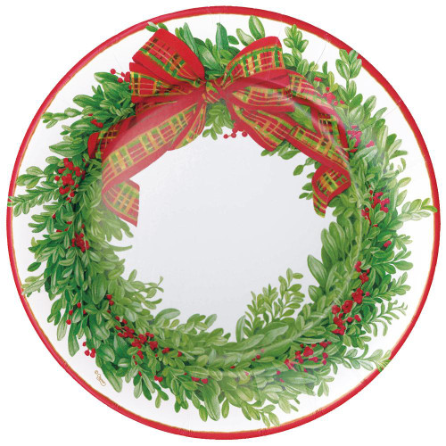 Caspari Round Paper Dinner Plates, Boxwood & Berries Wreath (16200DP)