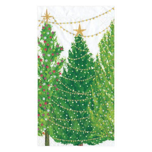 Caspari Paper Guest Towel Napkins, Christmas Trees with Lights (16150G)