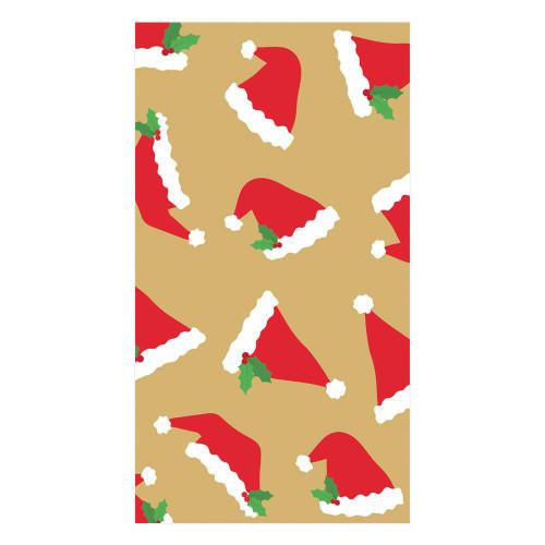 Caspari Paper Guest Towel Napkins, Santa Hat Toss Gold (16130G)