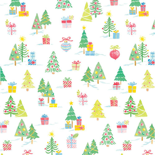 Caspari 8' Continuous Gift Wrap Roll, Painted Trees and Gifts (9784RC)