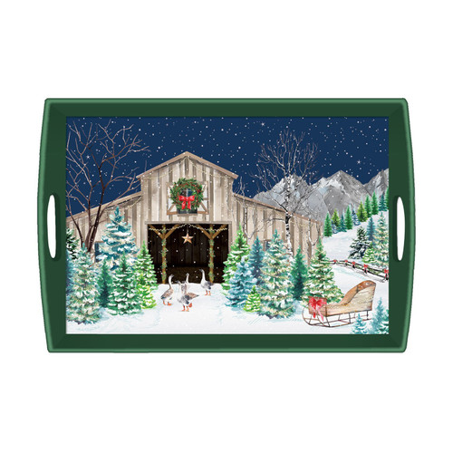 Michel Design Works Decoupage Wooden Tray, Christmas Snow