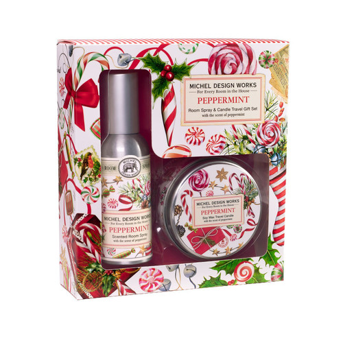 Michel Design Works Room Spray and Travel Candle Set, Peppermint