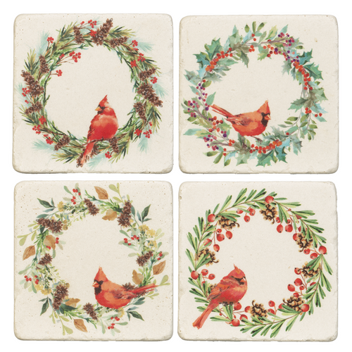 Midwest CBK Cardinal in Wreath Coaster, Set of 4