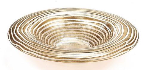 """Badash 14""""Crystal Round Gold Ribbon Bowl (EV48G)"""