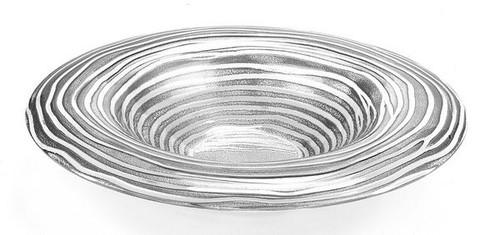 "Badash 14"" Crystal Round Silver Ribbon Bowl (EV48S)"