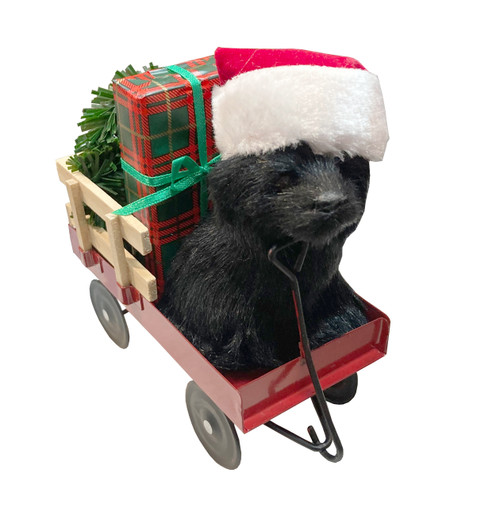 Byers' Choice Animal, Black Dog Wearing Santa Hat in Wagon (6136B)