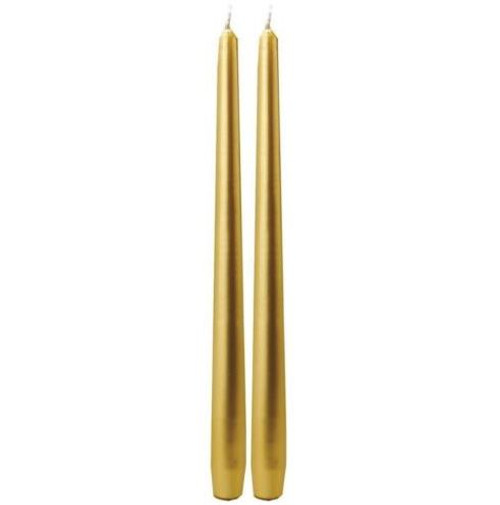 "Biedermann & Sons 12"" Taper Dinner Candles Pair, Gold"