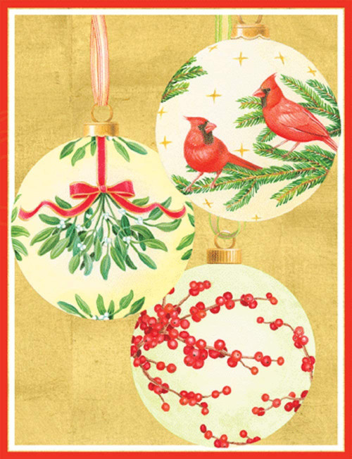 "Caspari Boxed Christmas Cards, 5.25"" x 6.75"", Handpainted Ornaments (100306)"